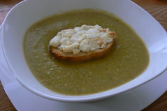 Broccoli-Edamame Soup with Jumbo Goat Cheese Croutons Jane
