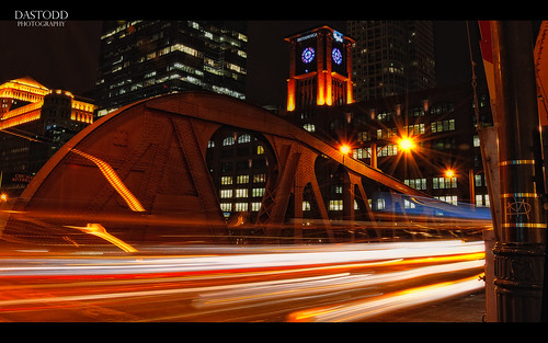longexposure bridge chicago architecture night lighttrails theloop
