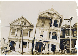 Photograph of the Effect of Earthquake on Houses Built on Loose or Made Ground After the 1906 San Francisco Earthquake, 1906