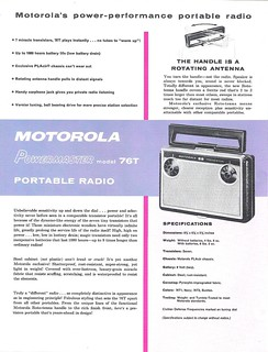 MOTOROLA Portable Radio Dealer Sheet Model Powermaster - 76T (USA 1957)_2