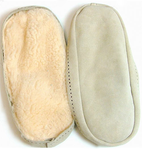 Knitting Pattern For Slippers With Soles : New suede slipper soles for my Bunny Hop slippers! Flickr - Photo Sharing!