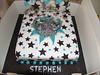 Aqua, Black and Silver Star burst explosion cake