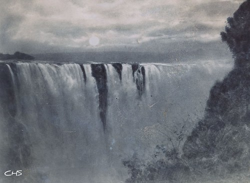 Rhodesia 1905  - The Victoria Falls at night. by Claire Stocker (Stocker Images)