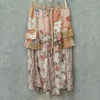 Ruffled Floral Patchwork and Lace Upcycled Vintage Boho Skirt