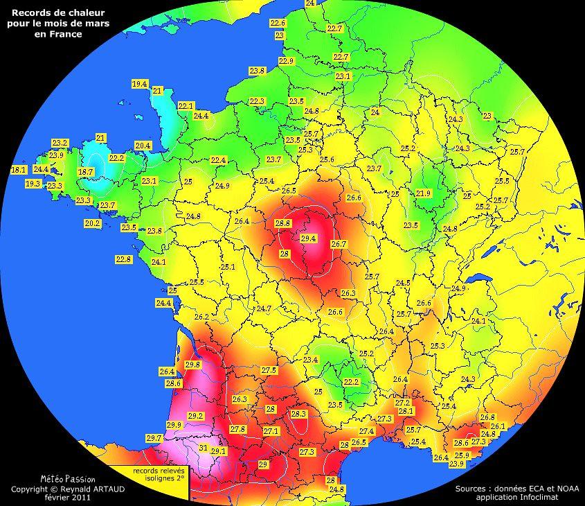 records de chaleur des températures maximales pour le mois de mars en France Reynald ARTAUD météopassion