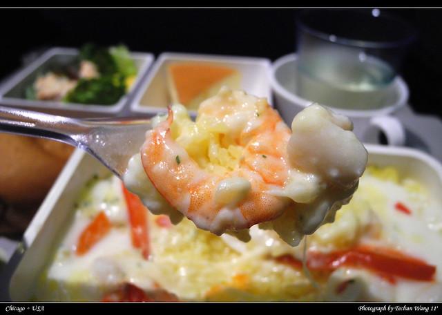 飞机上的海鲜焗饭