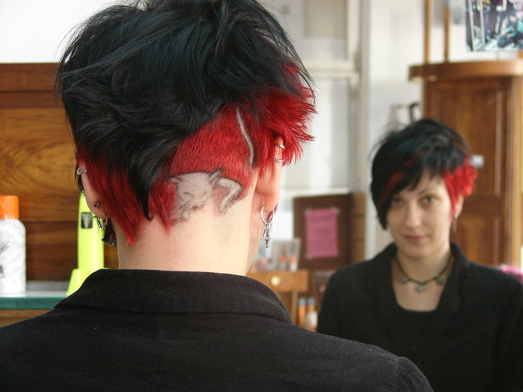 Dark Hair Red Highlight Cat Design Haircut And Color By Je Flickr