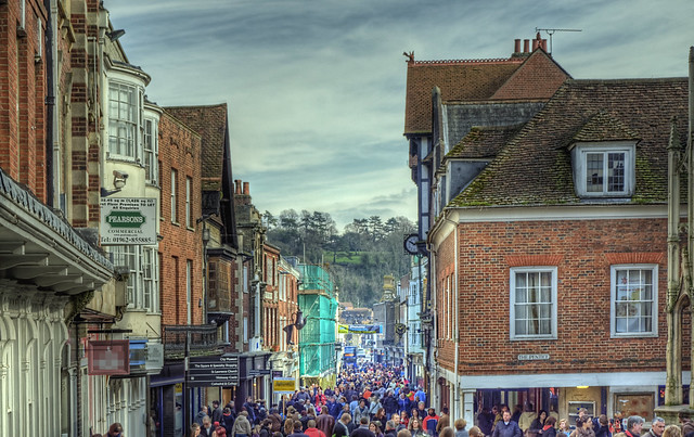 Winchester High Street on a Saturday