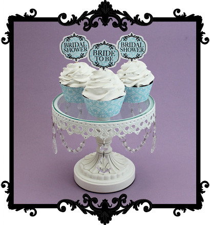 Printable Tiffany Blue Bridal Shower Cupcake Topper Wrapper