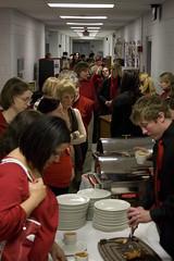 Student serving turkey