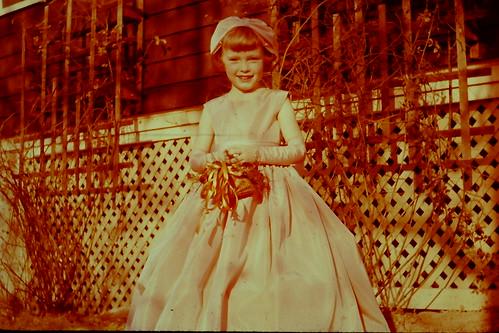 1958 vintage photo 35MM slide 1950s Wedding Bridal Party Flower Girl E