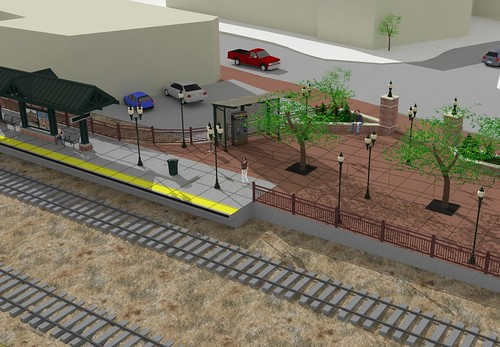 Rendering of Olde Town Arvada Station Platform and Plaza