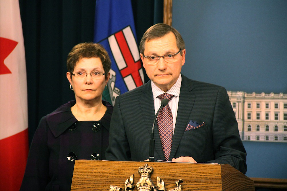 Alberta Premier Ed Stelmach and his wife Marie Stelmach at the Premier's resignation announcement on January 25, 2011.