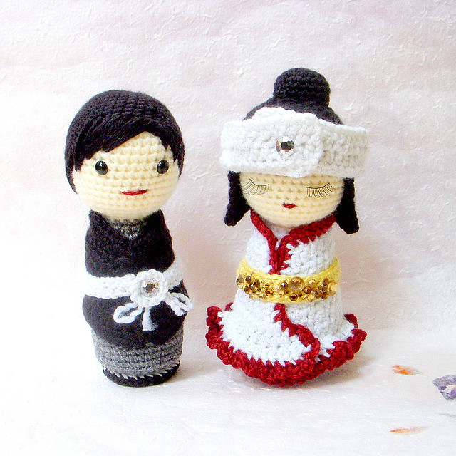 Japanese Amigurumi Blog : Japanese Wedding-amigurumi Kokeshi doll Flickr - Photo ...