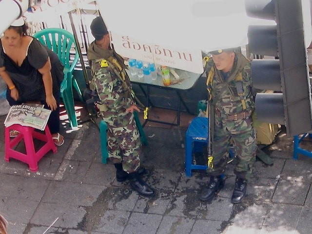 Soldiers at Erawan Shrine