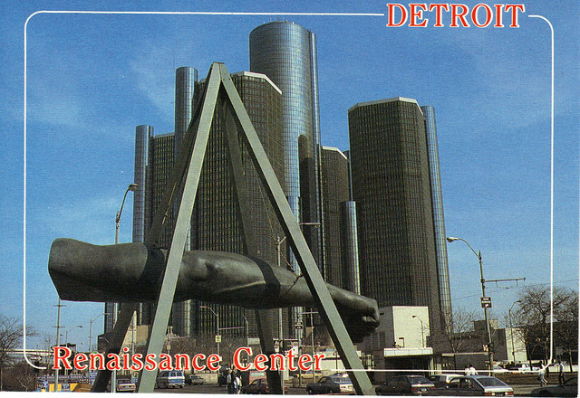 Great American Crossing 1995: Detroit Renaissance Center post card