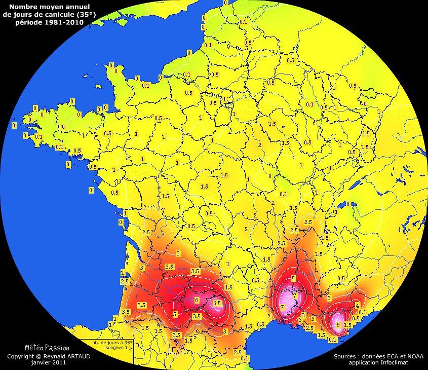 nombre moyen annuel de jours avec très forte chaleur ou canicule (35°) en France pour la période 1981-2010