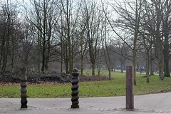Three wooden posts, Tooting Bec Common