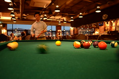 nine-ball(0.0), carom billiards(0.0), english billiards(0.0), pocket billiards(1.0), indoor games and sports(1.0), individual sports(1.0), billiard room(1.0), snooker(1.0), sports(1.0), recreation(1.0), cue stick(1.0), pool(1.0), billiard table(1.0), recreation room(1.0), games(1.0), cue sports(1.0),