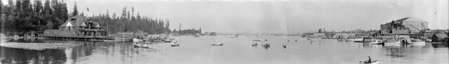 [View of Coal Harbour showing the Vancouver Rowing Club and the Denman Arena]