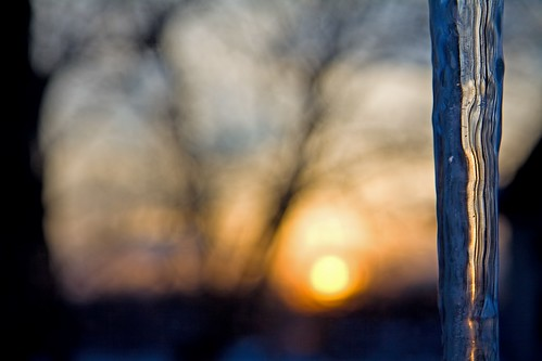 winter sunset sun snow cold ice bokeh icicle icy