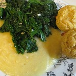 Kale on Polenta (vegan), wheat germ muffins
