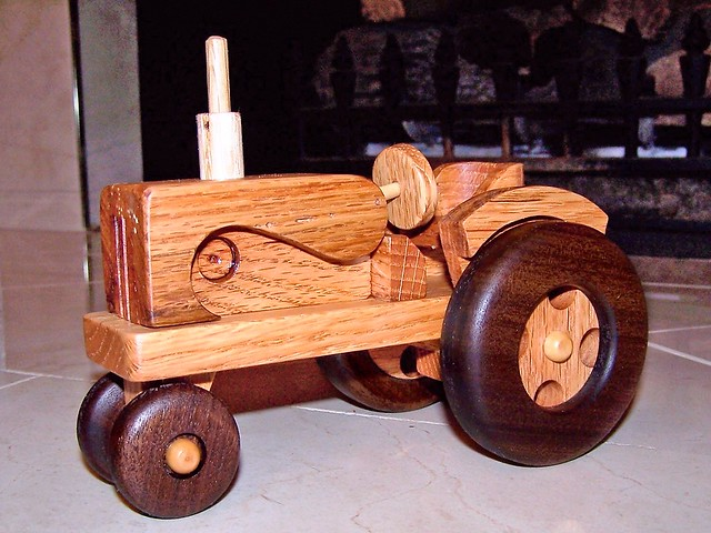 Tractors Hooked Together : Handmade wooden farm tractor and wagon gorgeous handcra