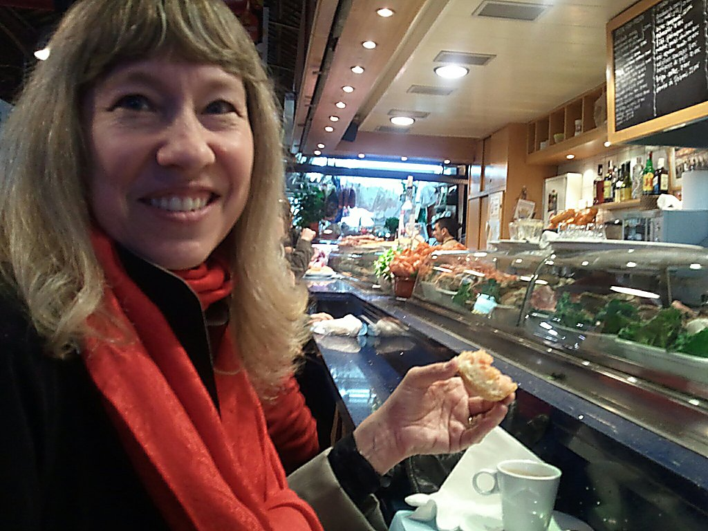 Cynthia enjoys her Boqueria breakfast