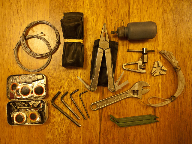 Basic Bicycle Repair Tool Kit by Zane Selvans on flickr