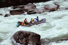 whitewater kayaking(0.0), vehicle(1.0), sports(1.0), rapid(1.0), river(1.0), recreation(1.0), outdoor recreation(1.0), watercraft rowing(1.0), boating(1.0), extreme sport(1.0), water sport(1.0), boat(1.0), raft(1.0), rafting(1.0),