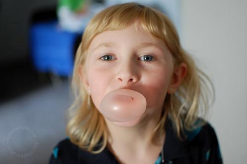 Annalie blew a bubble with gum!