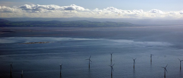 Offshore wind farm, with a view of North Wales