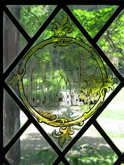 Chester: Stained glass in the Cathedral cloisters (Cheshire)