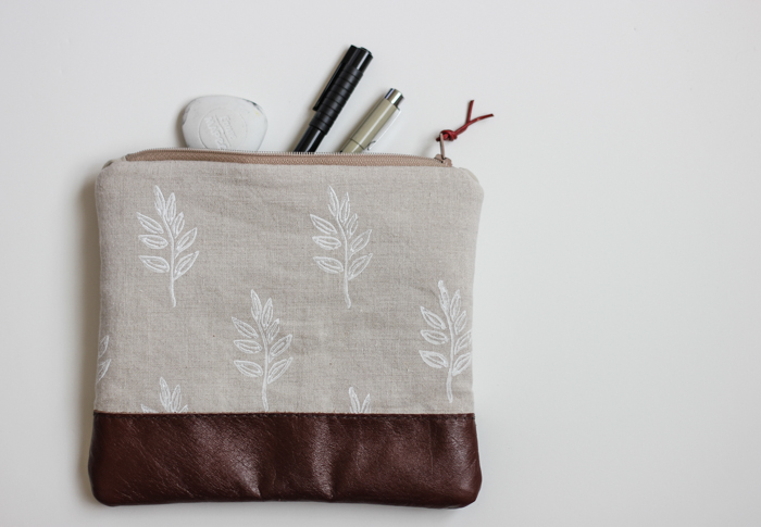 Block Printed Linen & Leather Zip Pouch
