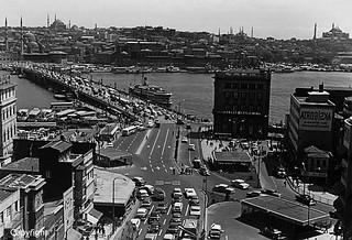 Turkey Istanbul Karakoy Galata bridge 1970's