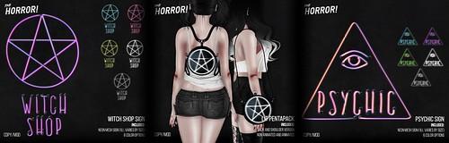 The Horror!~ Witch Shop Sign, Psychic Sign, & Lit Pentapack @ Salem