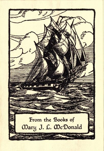 Bookplate of Mary J L McDonald