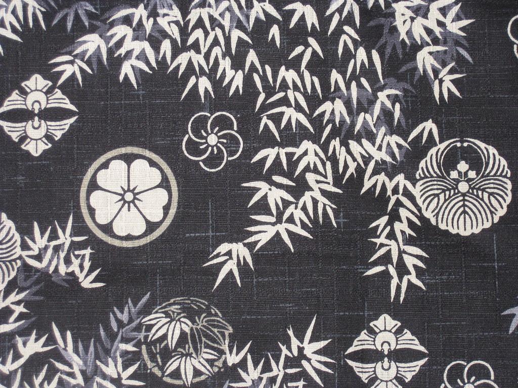 Kimono fabric pattern black