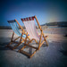 Two deckchairs in St. Ives Cornwall.