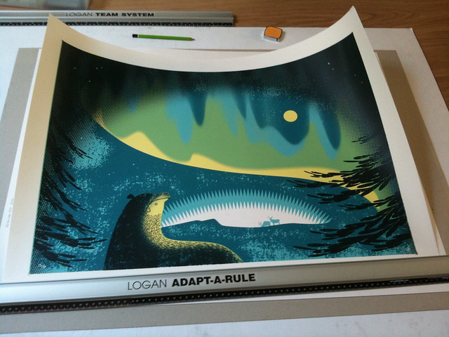 Sally Elford print about to be framed.