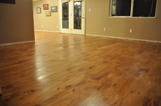 Stained pine plank floor