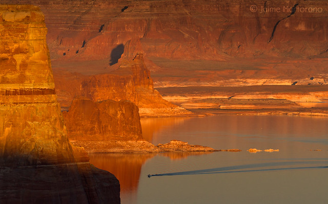 Sunset Cruise on Lake Powell as Seen from Alstrom Point.
