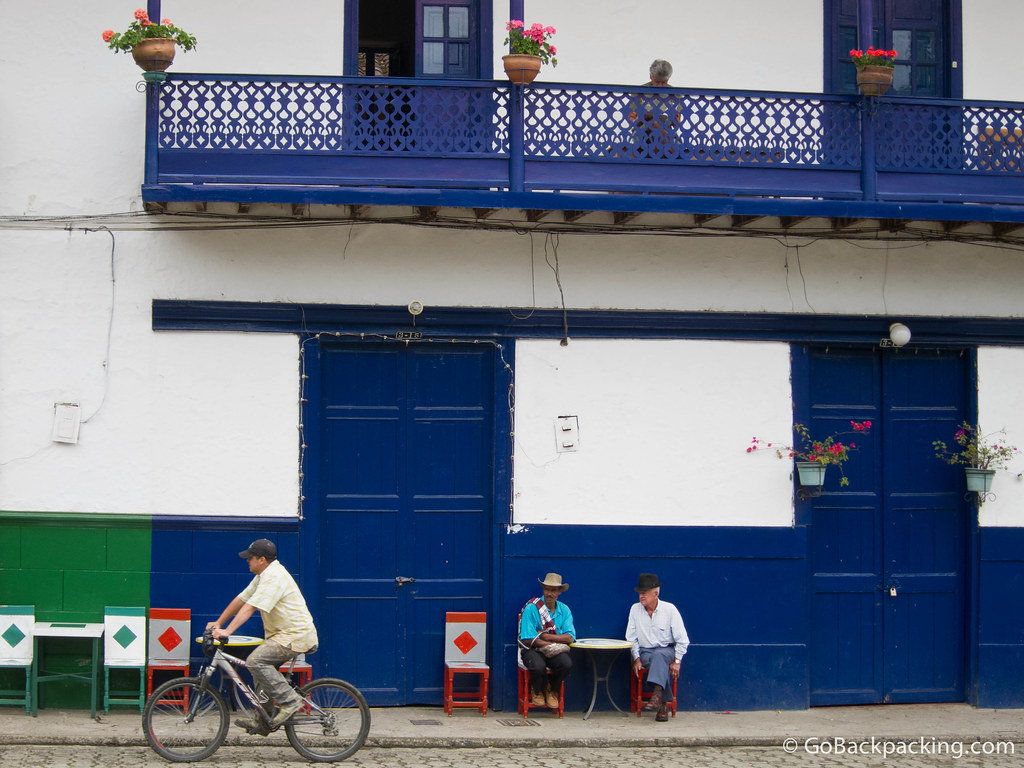 Daily life in the main plaza of Jardin, Colombia