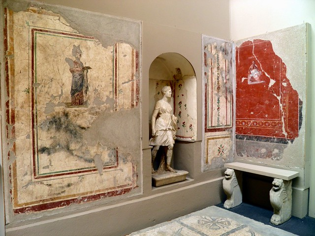 The Socatres Room decorated with frescoes of the famous philosopher, Ephesus Museum, Selçuk, Turkey