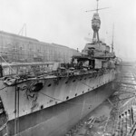 Ca. Nov.30-Dec., 1918. WWI Town Class cruiser HMAS MELBOURNE [I] in drydock at Portsmouth U.K. - Collection of Chief Steward Newell, AWM.