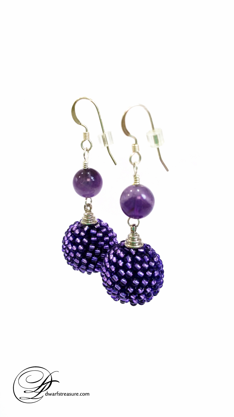 bohemian purple beaded bead earrings