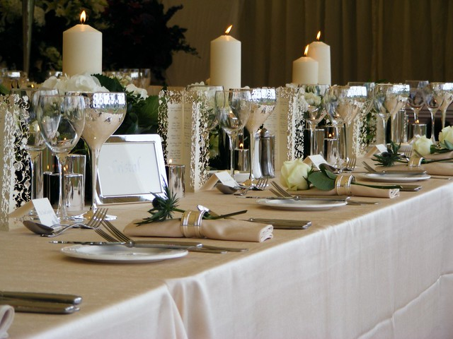 88 Events designs a Marquee Wedding Ivory Faux Silk Tablecloth