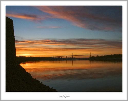 bridge sunrise landscape scotland riverclyde spring harbour bowling erskine westdumbartonshire