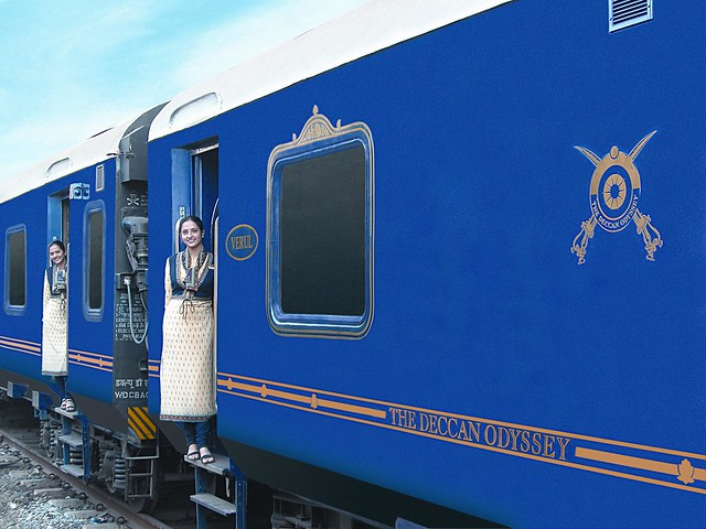 The Royal Blue interior of the Deccan Odyssey Train