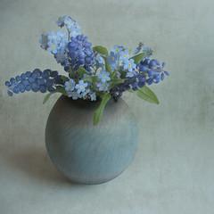 painting(0.0), art(1.0), flower arranging(1.0), cut flowers(1.0), flower(1.0), purple(1.0), violet(1.0), artificial flower(1.0), floral design(1.0), plant(1.0), lilac(1.0), lavender(1.0), flower bouquet(1.0), floristry(1.0), still life(1.0), blue(1.0),